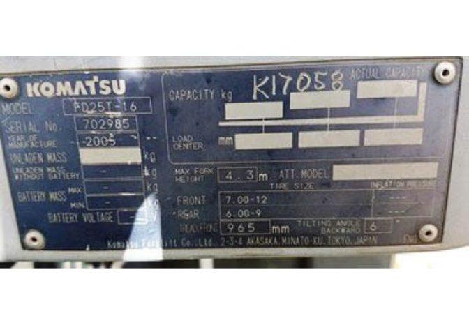 Komatsu 2.5T (4.3m Lift) Diesel FD25-16 Forklift full