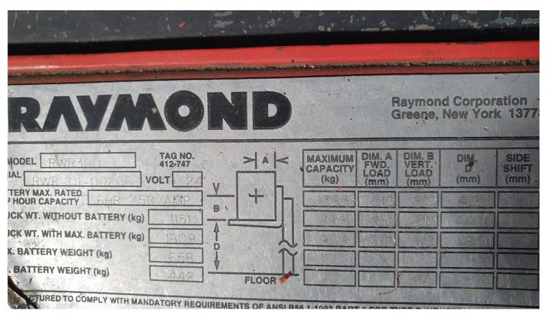 Raymond RWR300 Walkie Reach 1.36Ton (4.8m Lift) 24V full